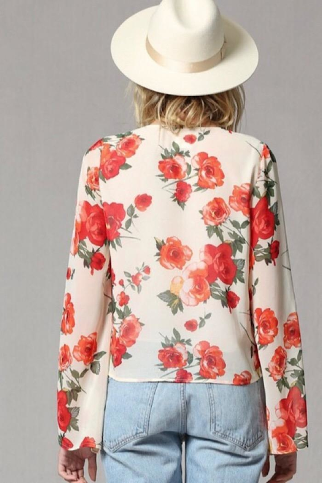 By Together Rose Print Bell Sleeve Top - Back Cropped Image