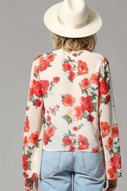 By Together Rose Print Bell Sleeve Top - Back cropped