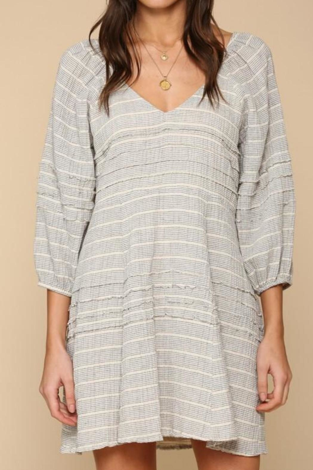 By Together Striped Gauze Dress - Back Cropped Image