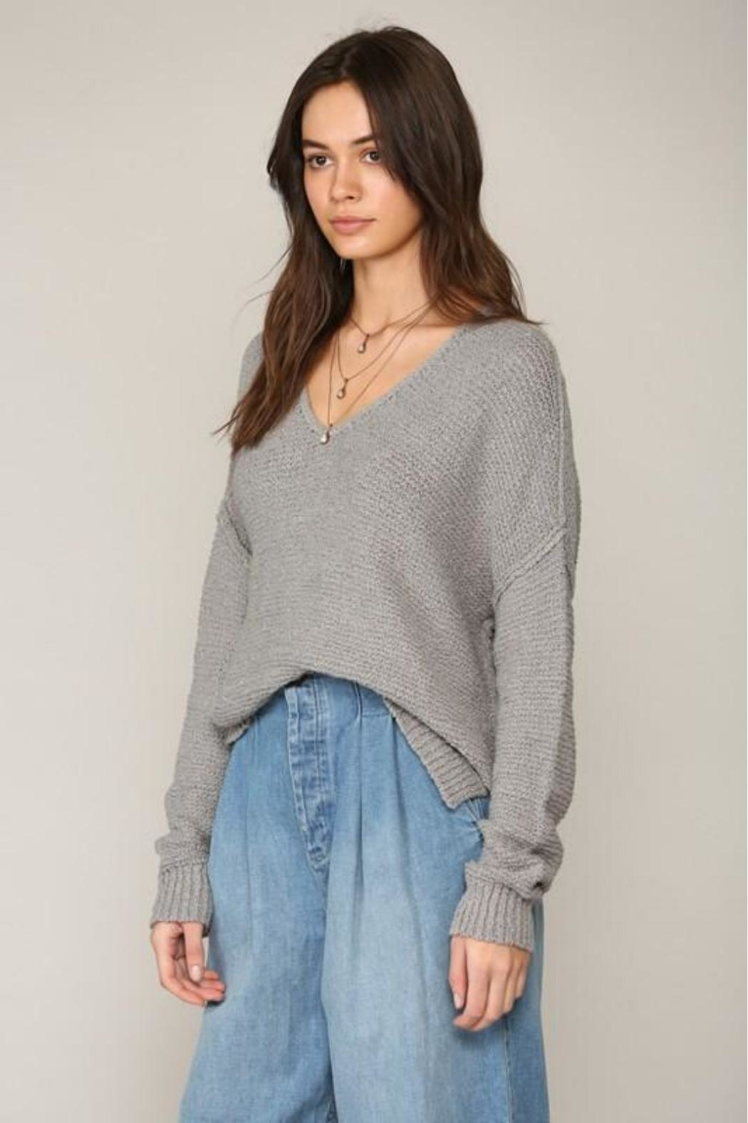 By Together V-Neck Knit Sweater - Front Full Image