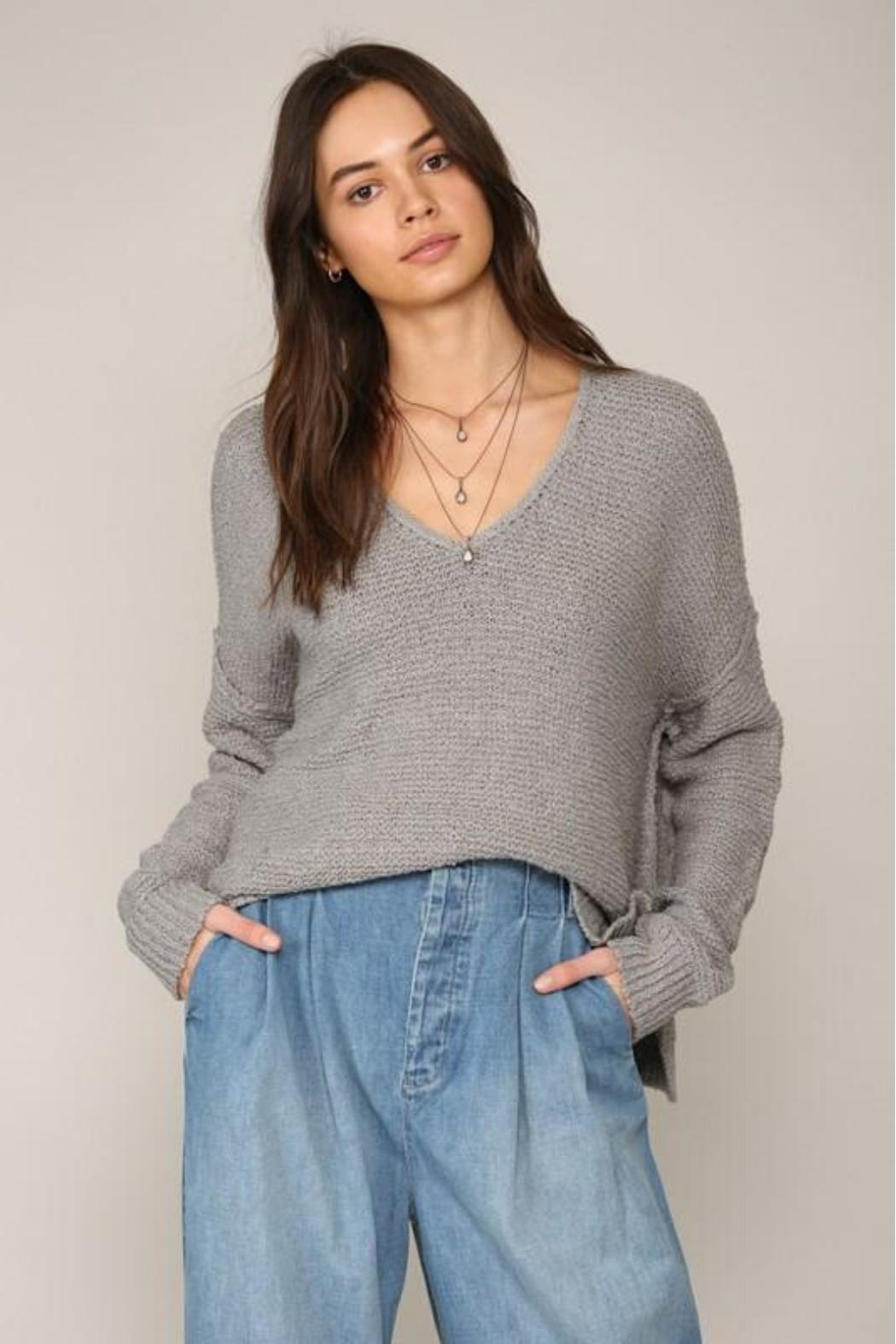 By Together V-Neck Knit Sweater - Back Cropped Image