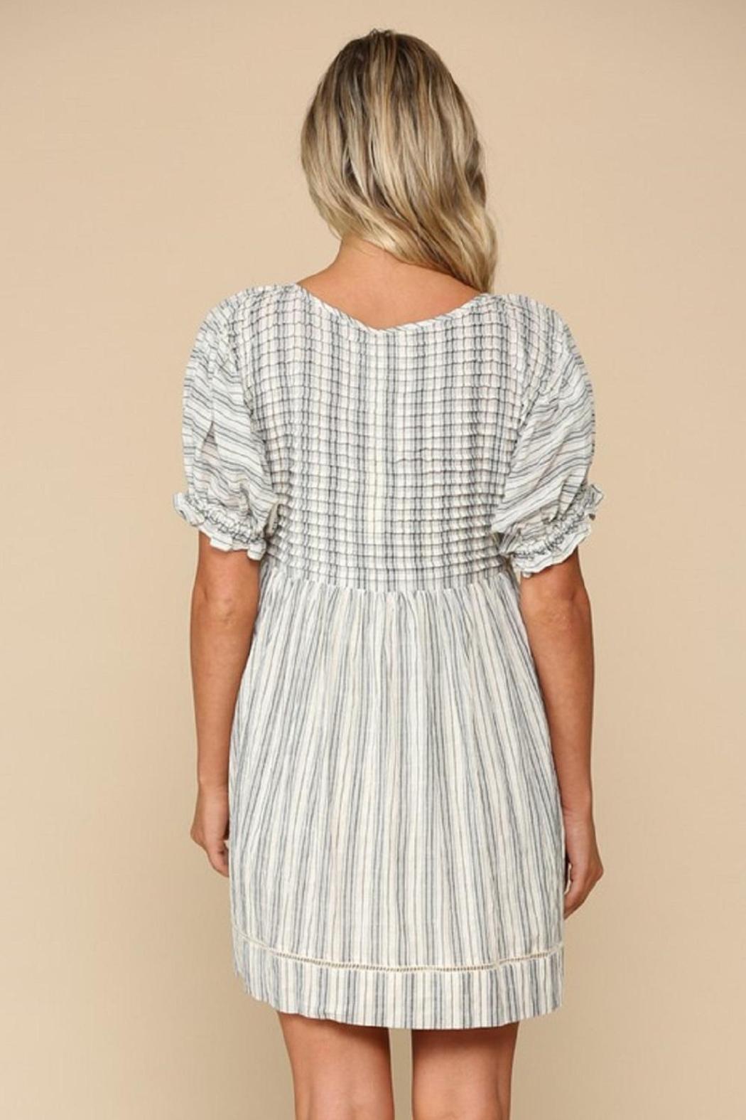 By Together Woven Stripe Dress - Side Cropped Image