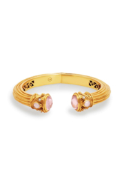 The Birds Nest Byzantine Demi Hinge Cuff Gold Iridescent Rose Endcaps - Front cropped