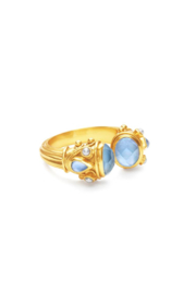 The Birds Nest Byzantine Ring Gold Iridescent Chalcedony Blue w/ Pearl Accents - Size 8/9 - Product Mini Image