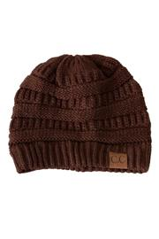 C.C. Brown Knit Beanie - Product Mini Image