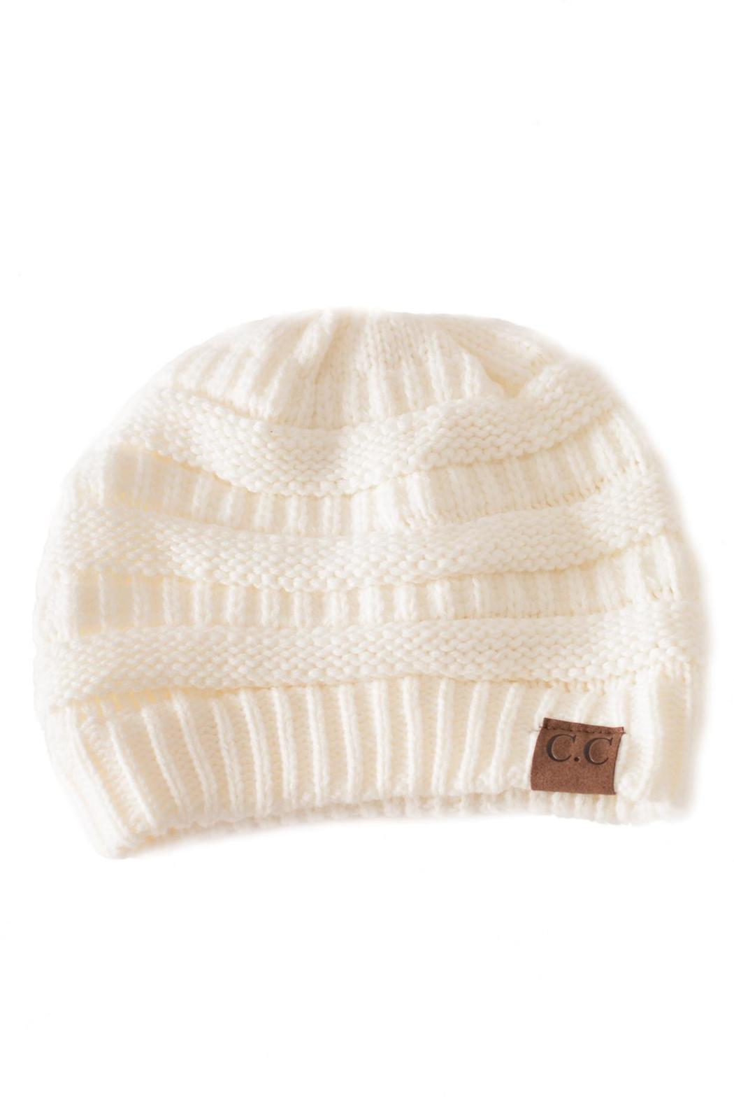 C.C. Ivory Knit Beanie - Front Cropped Image