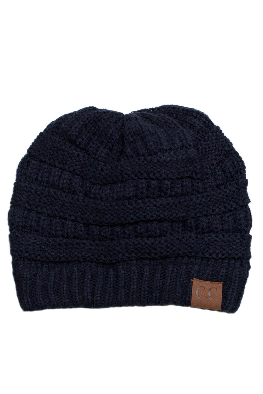 C.C. Navy Knit Beanie - Front Cropped Image