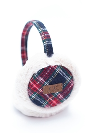 C.C. Navy Plaid Earmuffs - Front cropped