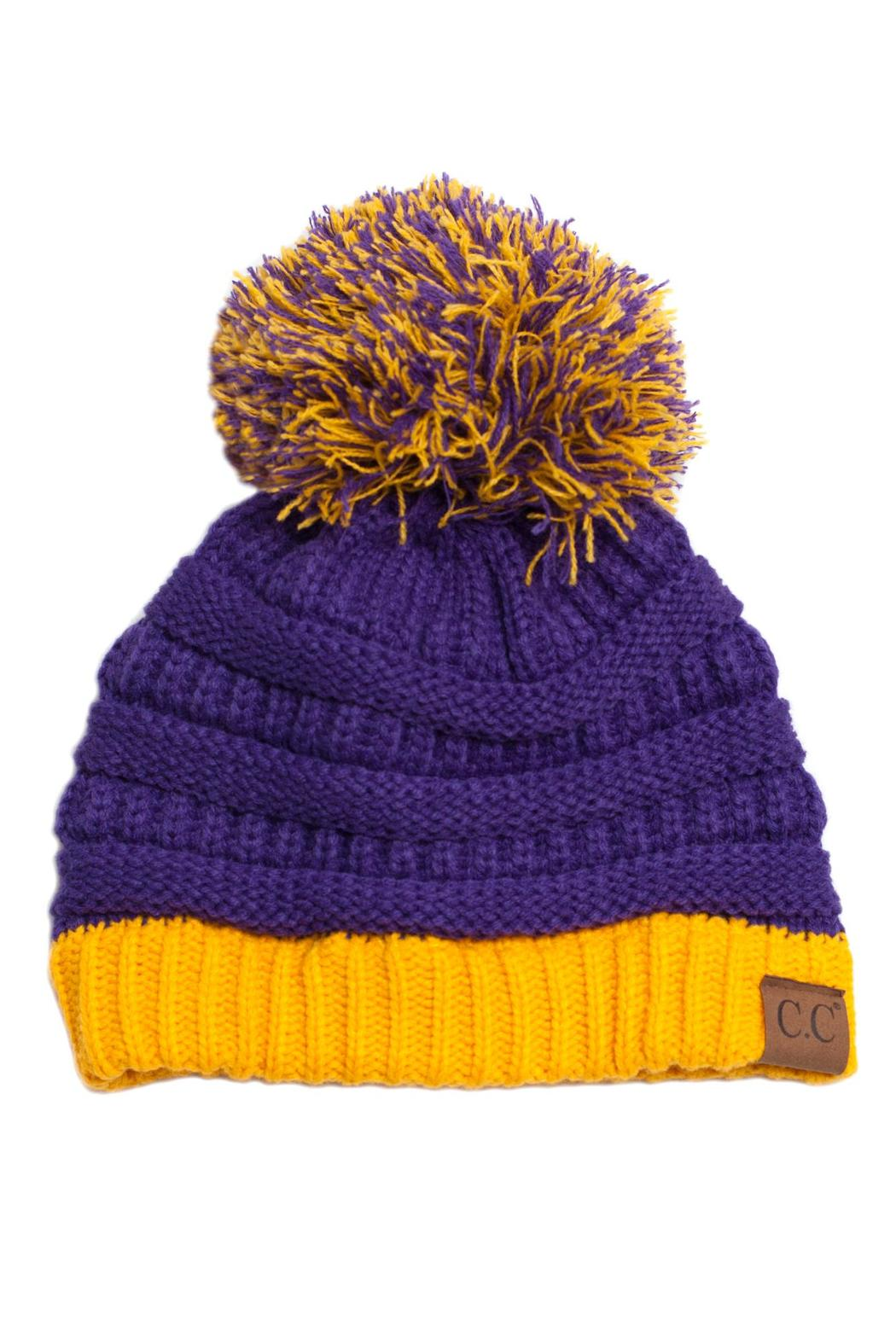 C.C. Pom Knit Beanie - Front Cropped Image