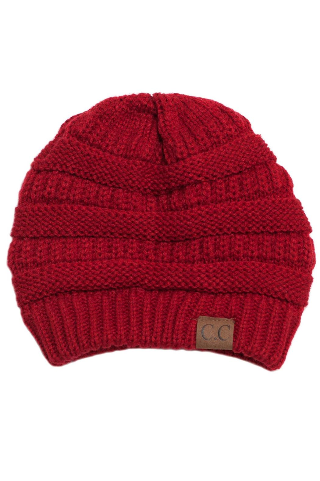 C.C. Red Knit Beanie - Front Cropped Image