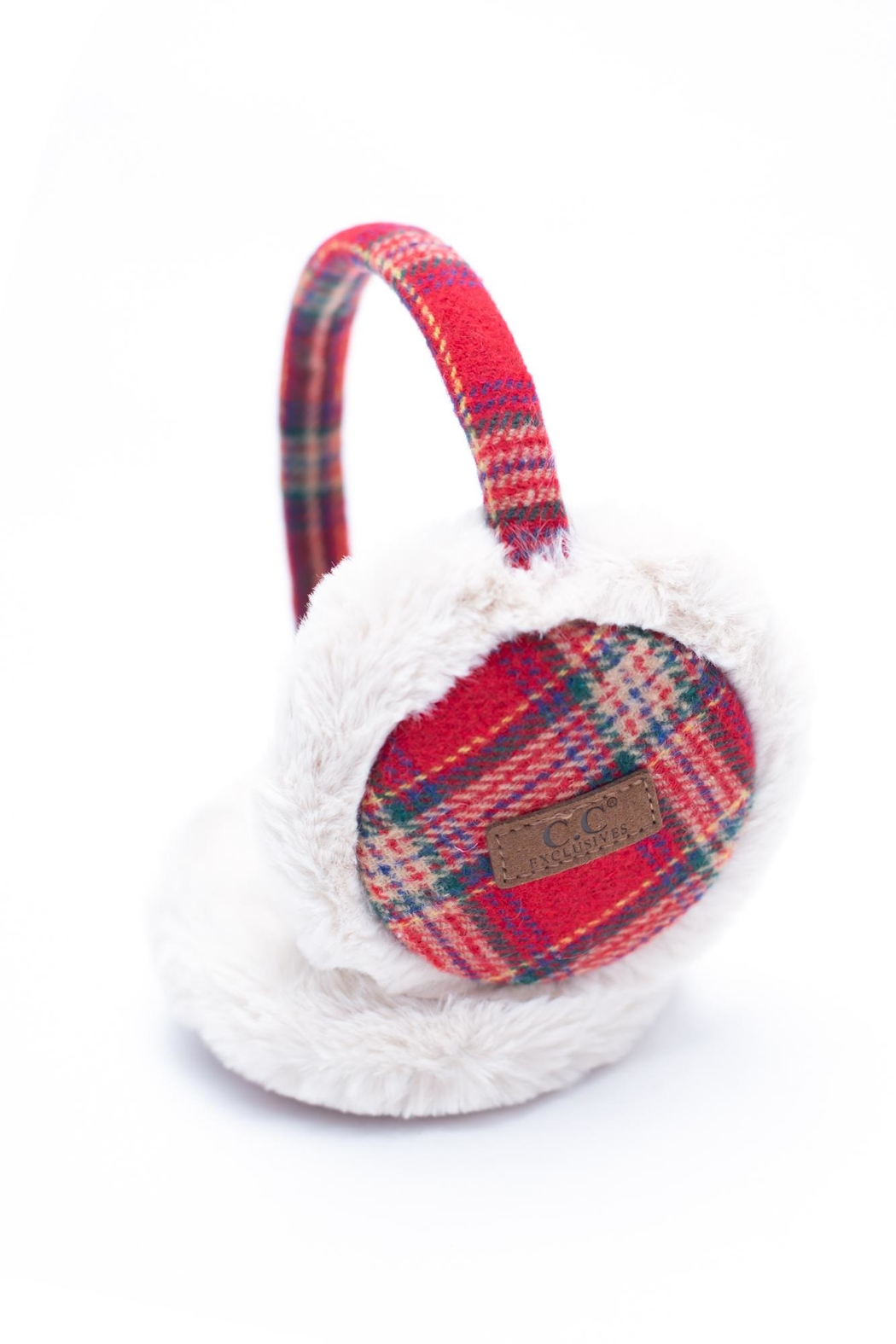 C.C. Red Plaid Earmuffs - Main Image