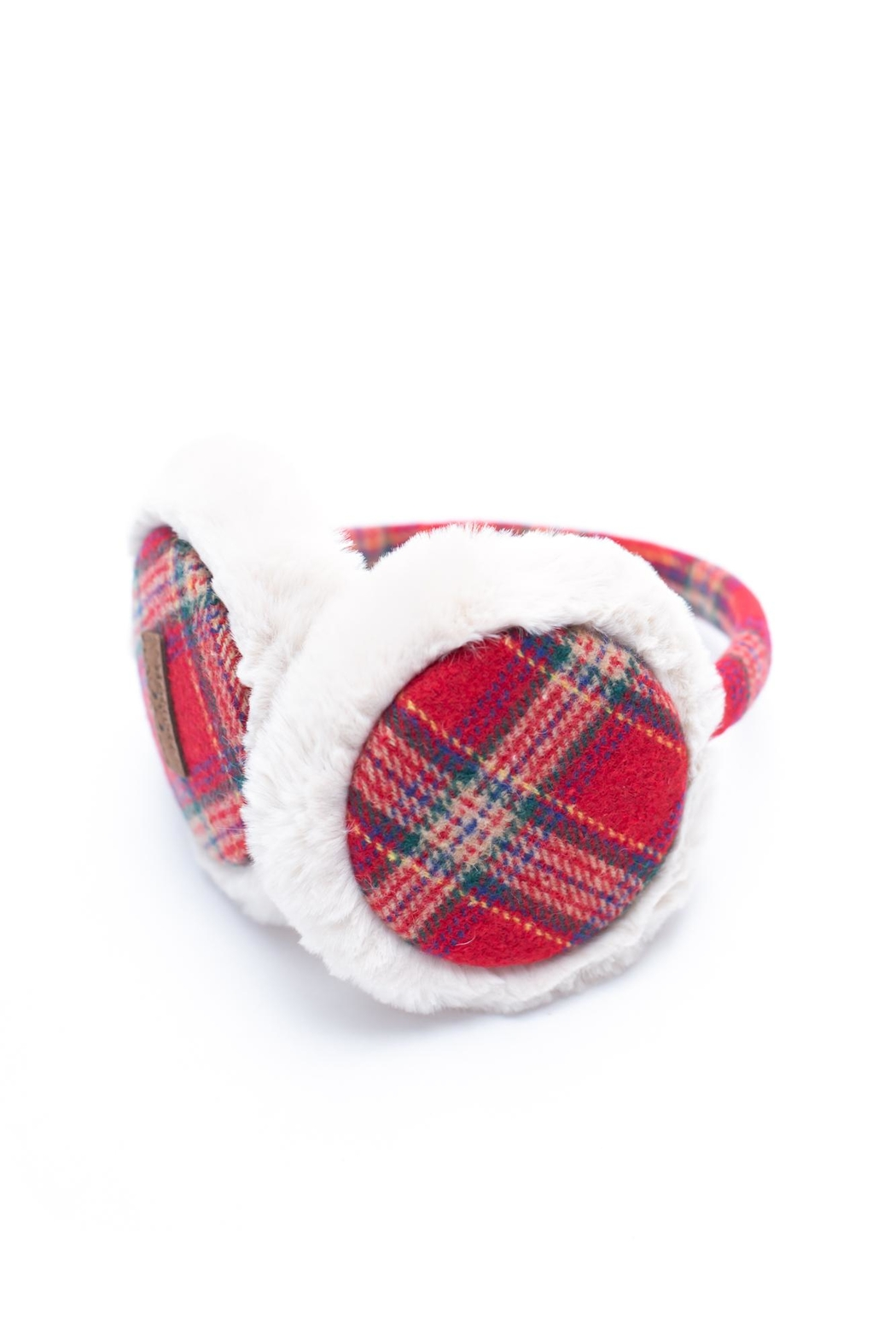 C.C. Red Plaid Earmuffs - Front Full Image