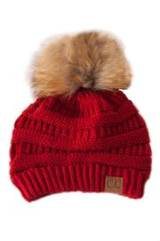C.C. Red Pom Beanie - Product Mini Image