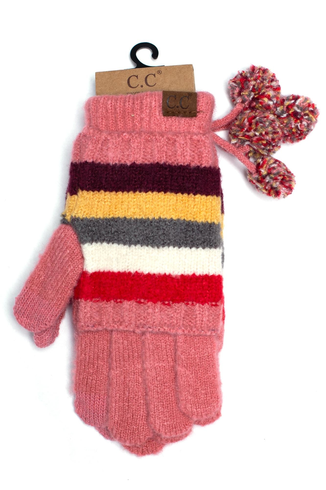 C.C. Striped Pom Gloves - Front Cropped Image
