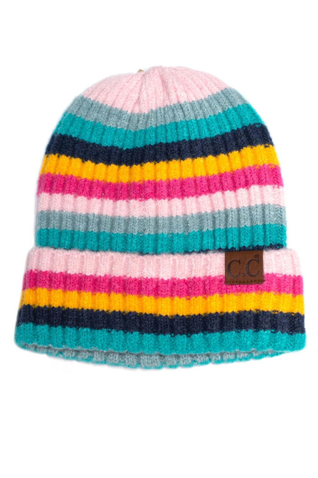 C.C. Striped Ribbed Beanie - Main Image