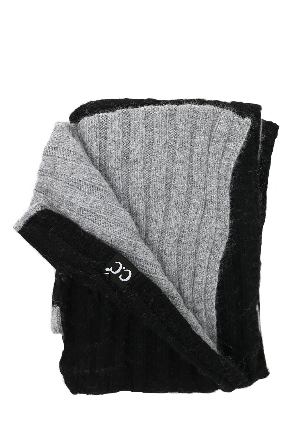 C.C Beanie Grey-Black Infinity Scarf - Front Cropped Image