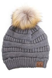 C.C Beanie Grey Knit Beanie - Front cropped