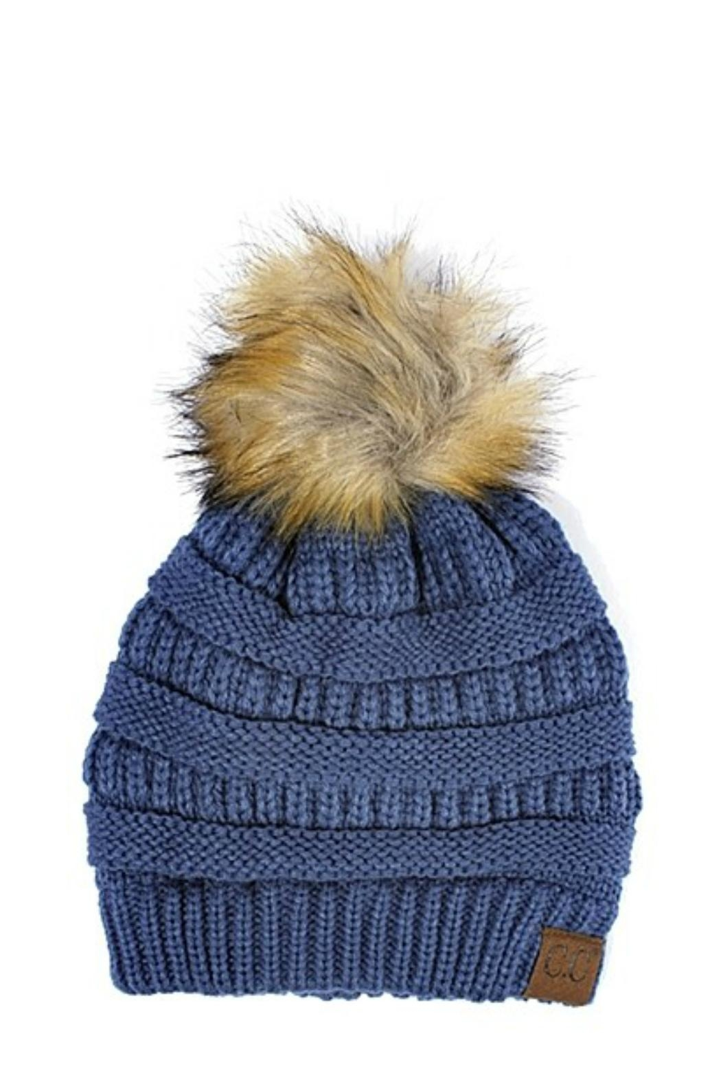 C.C Beanie Knitted Beanie Fur-Pom - Front Cropped Image