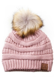 C.C Beanie Knitted Beanie Fur-Pom - Front cropped