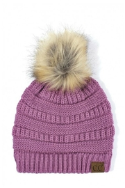C.C Beanie Knitted Beanie Fur-Pom - Product Mini Image