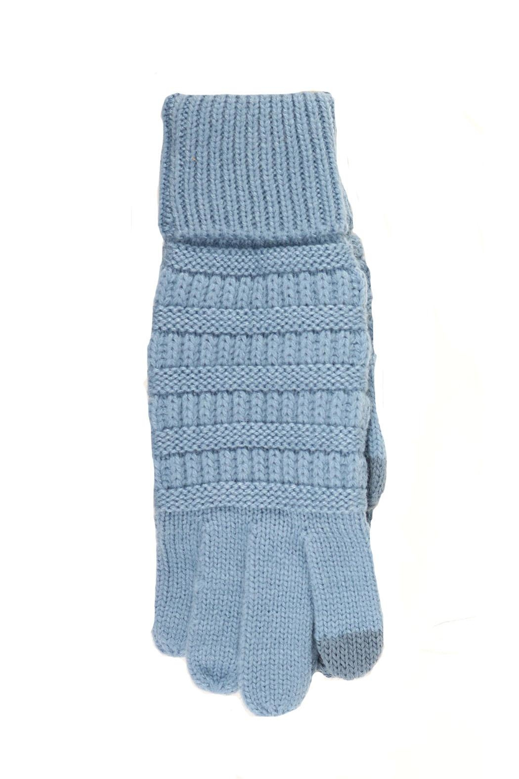 C.C Beanie Light-Blue Knit Gloves - Main Image