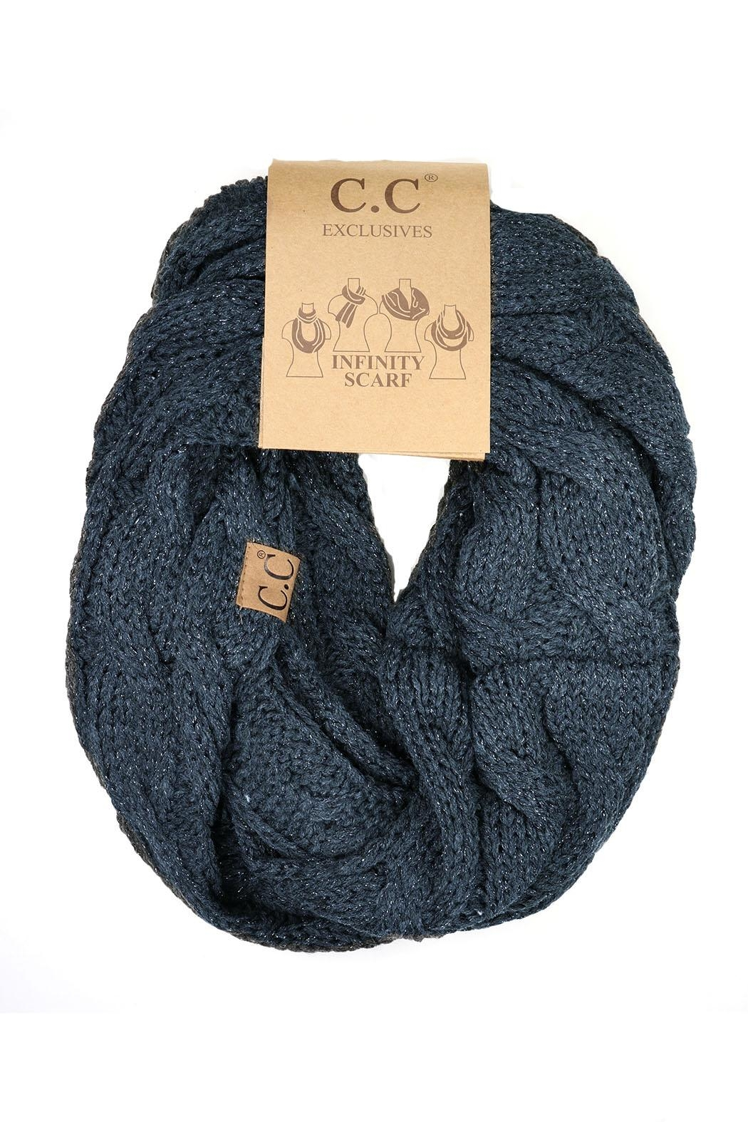 C.C Beanie Metallic Blue Scarf - Front Cropped Image