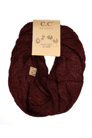 C.C Beanie Metallic Maroon Scarf - Front cropped