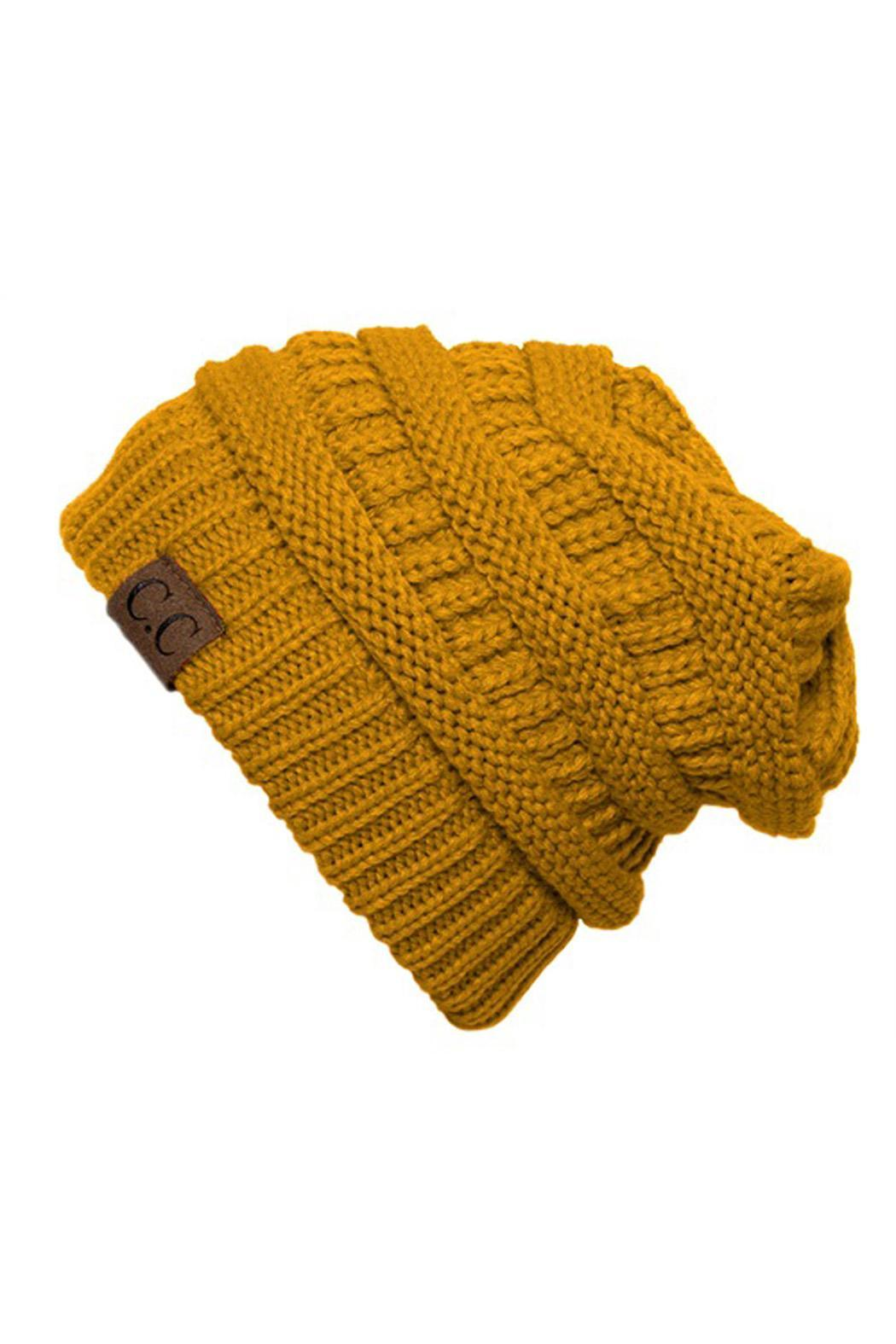 C.C Beanie Slouchy Knit Beanie - Front Cropped Image