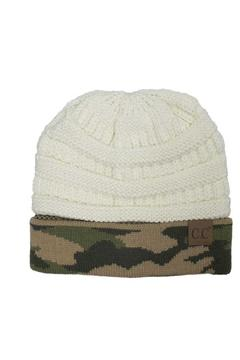 Shoptiques Product: White Camo Beanie