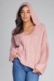 C'est Moi Hooded Crop V-Neck Sweater - Product Mini Image