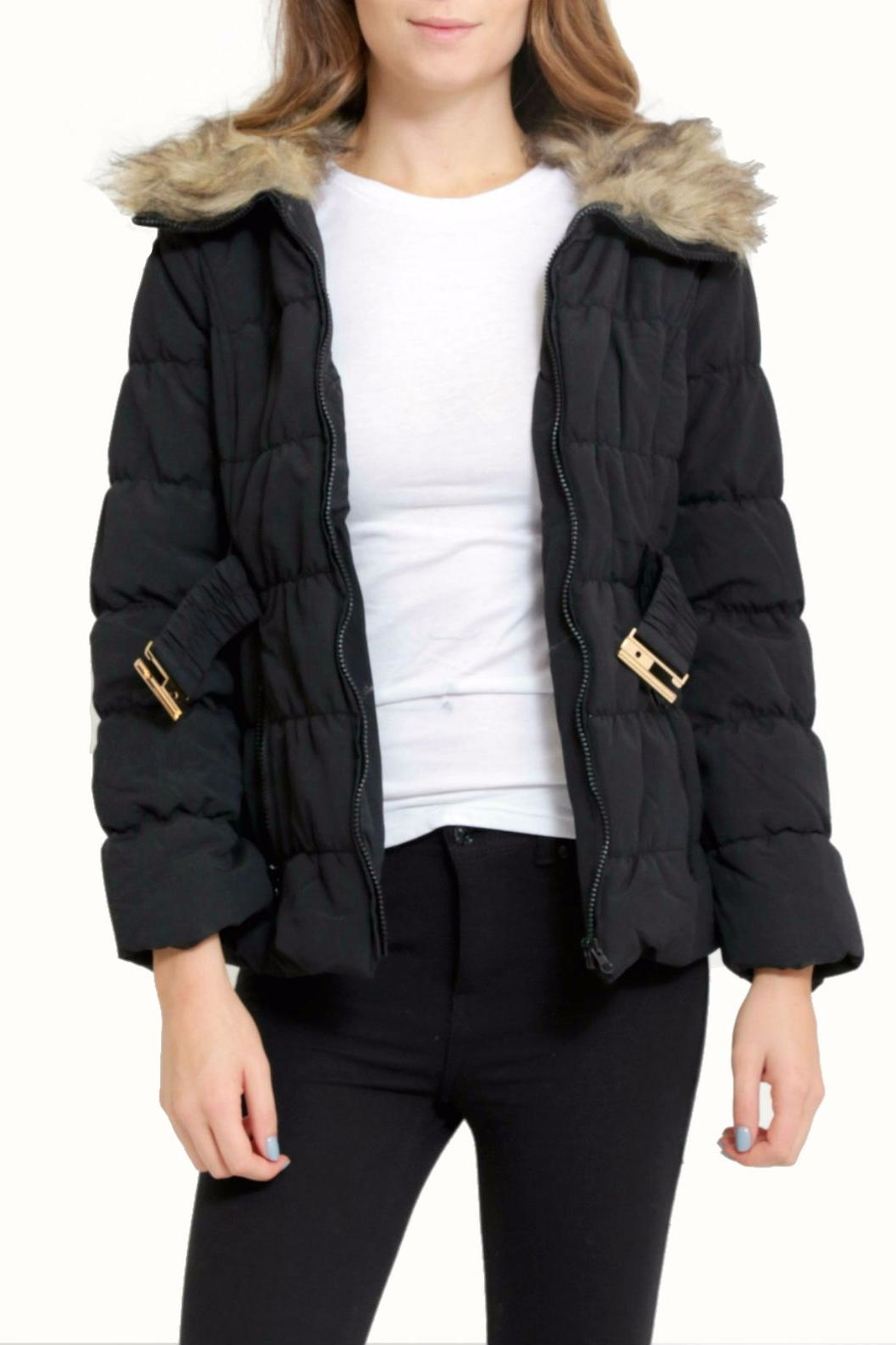 C'est Moi Quilted Fur Jacket - Front Full Image