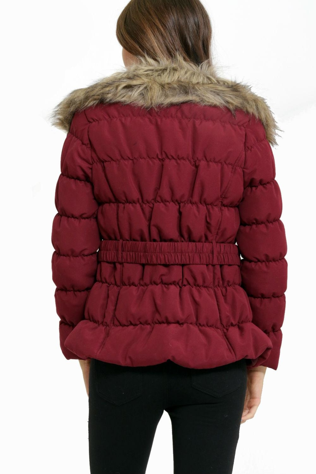C'est Moi Quilted Fur Jacket - Back Cropped Image