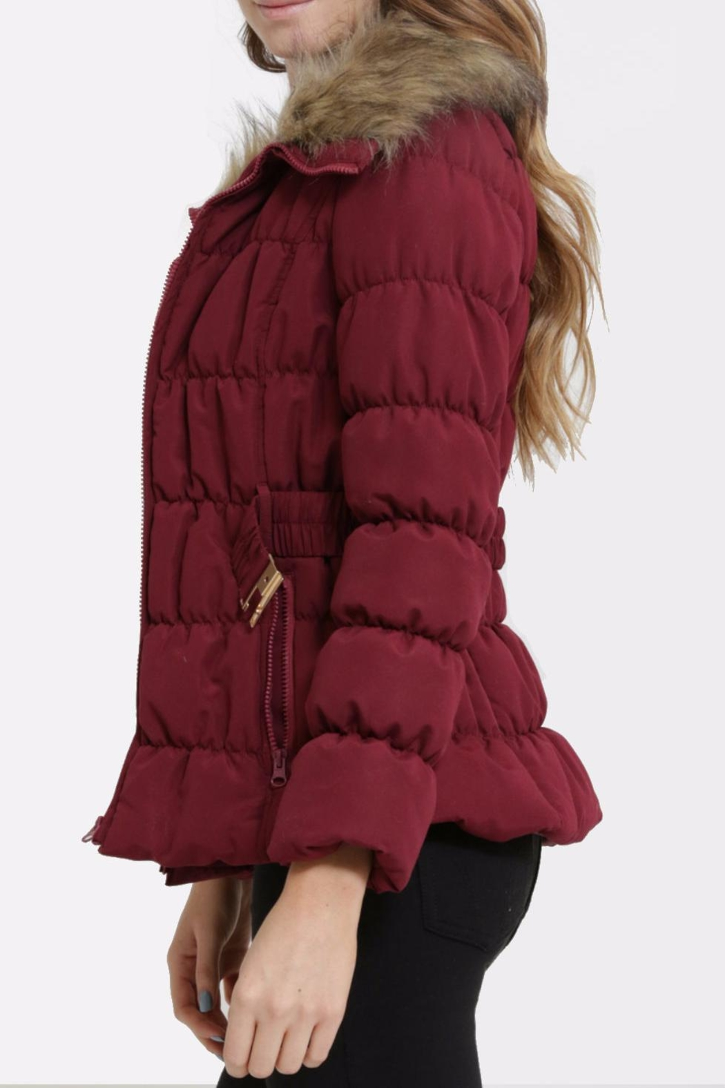 C'est Moi Quilted Fur Jacket - Side Cropped Image