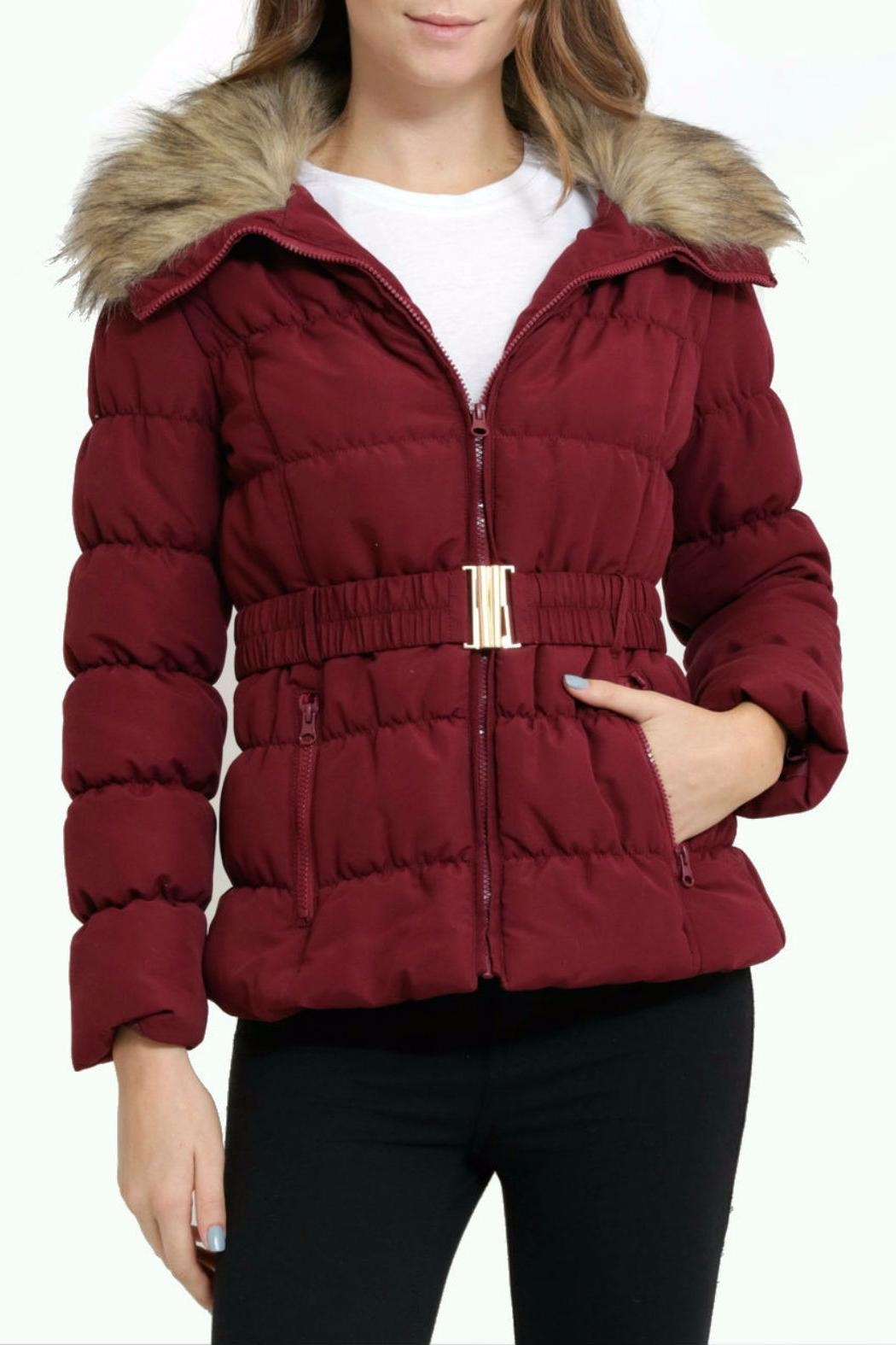 C'est Moi Quilted Fur Jacket - Front Cropped Image