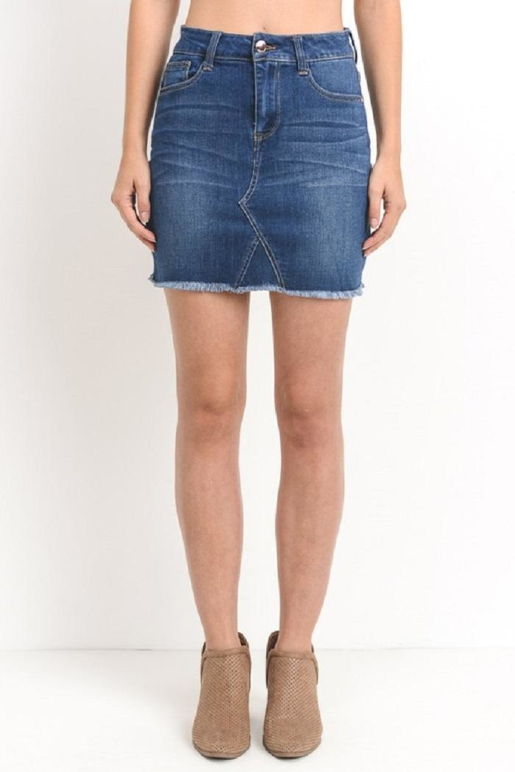 C'ESTTOI Denim Mini Skirt - Front Full Image