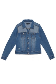 C'ESTTOI Distressed Multi Denim Jacket - Front cropped