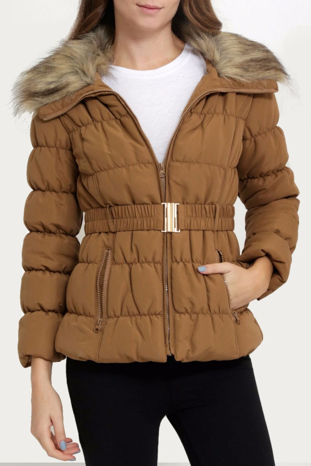 C'ESTTOI Quilted Fur Jacket - Front Cropped Image