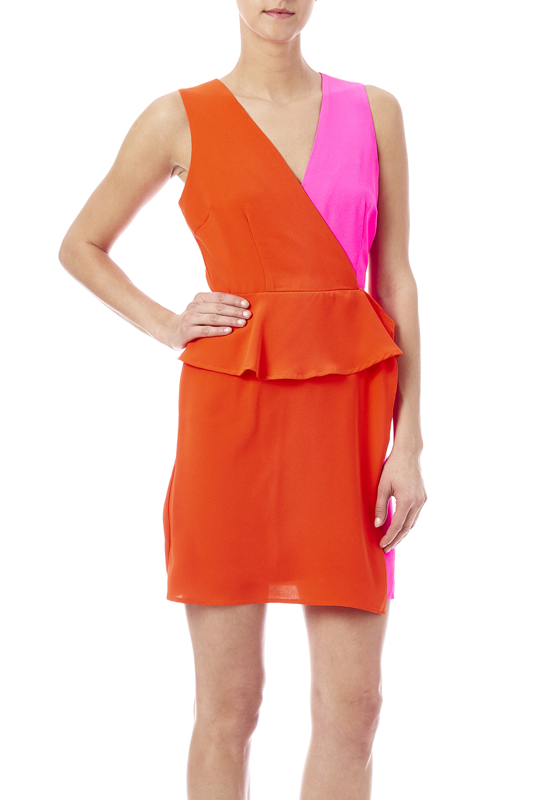 C. Luce Colorblock Peplum Dress - Front Cropped Image