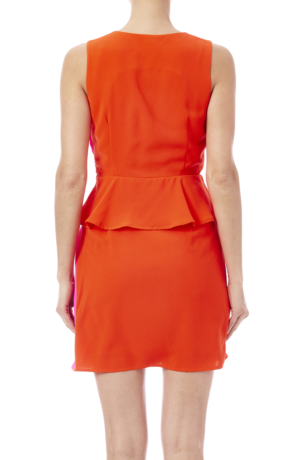C. Luce Colorblock Peplum Dress - Back Cropped Image