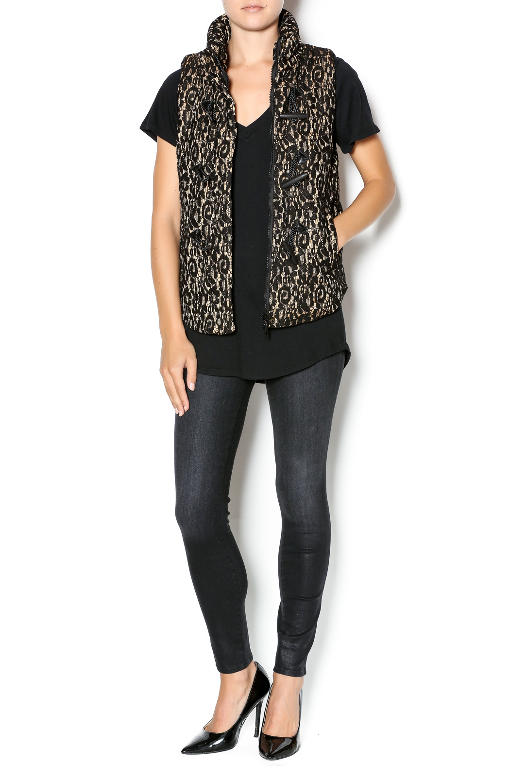 C. Luce Lace Puffy Vest - Front Full Image