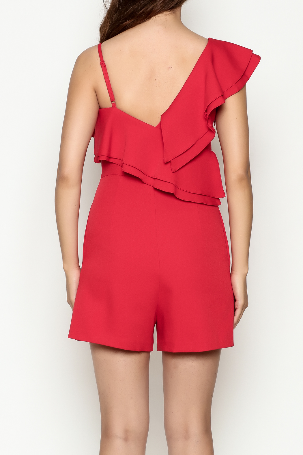 C. Luce Red Ruffle Romper - Back Cropped Image
