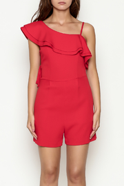 C. Luce Red Ruffle Romper - Front full body