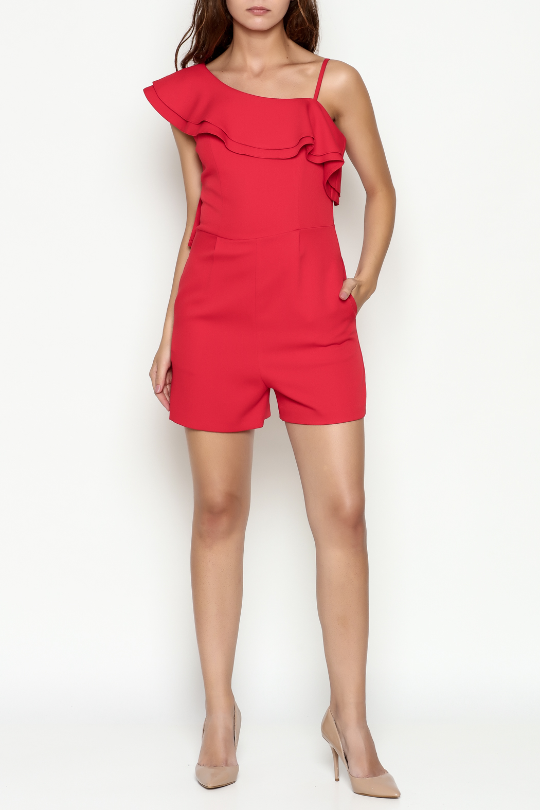 C. Luce Red Ruffle Romper - Side Cropped Image