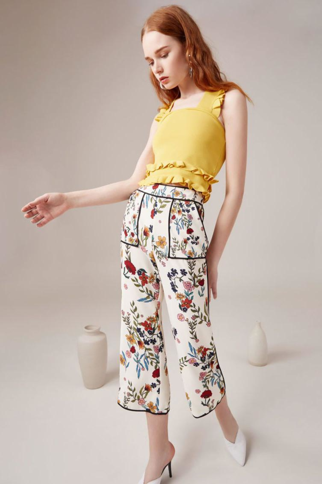C/MEO COLLECTIVE Floral Pants - Front Full Image
