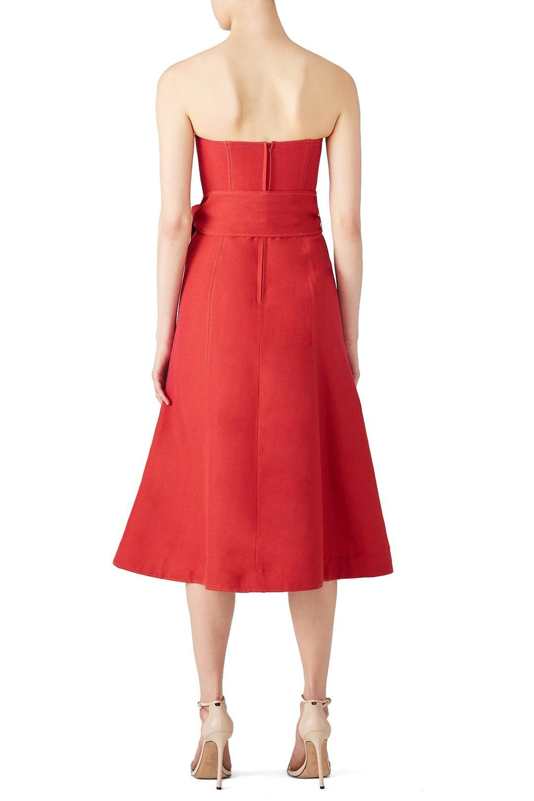 C/MEO COLLECTIVE Red Midi Dress - Side Cropped Image