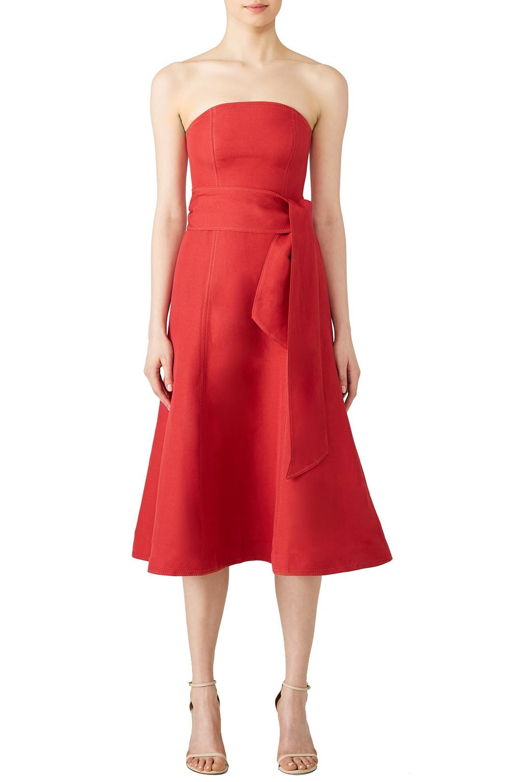 C/MEO COLLECTIVE Red Midi Dress - Front Full Image