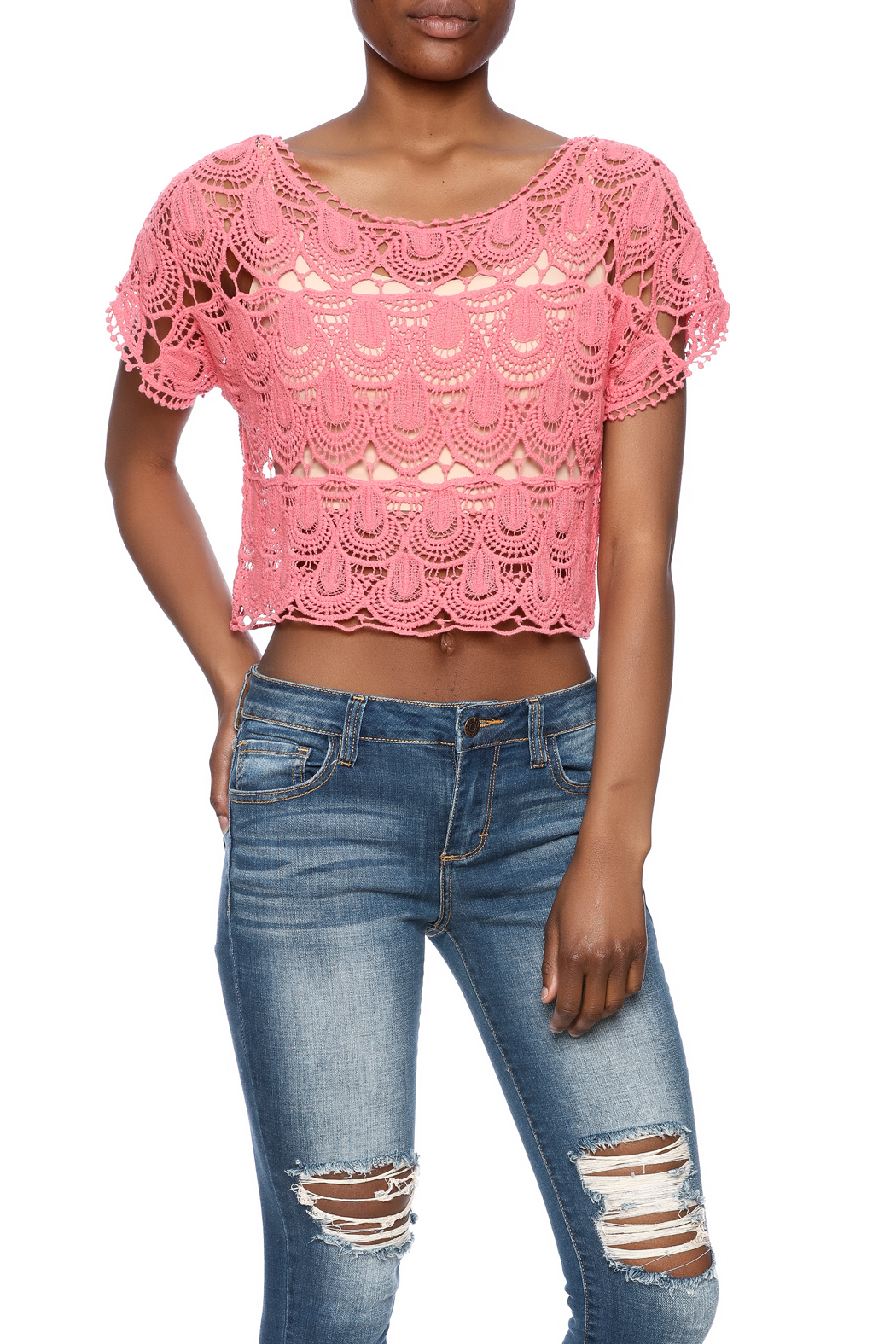 C Mode Coral Crocheted Crop Top - Main Image