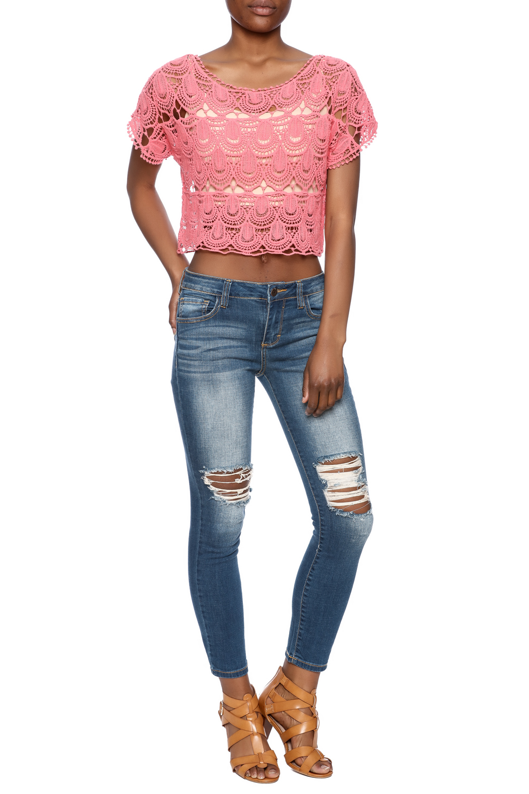 C Mode Coral Crocheted Crop Top - Front Full Image