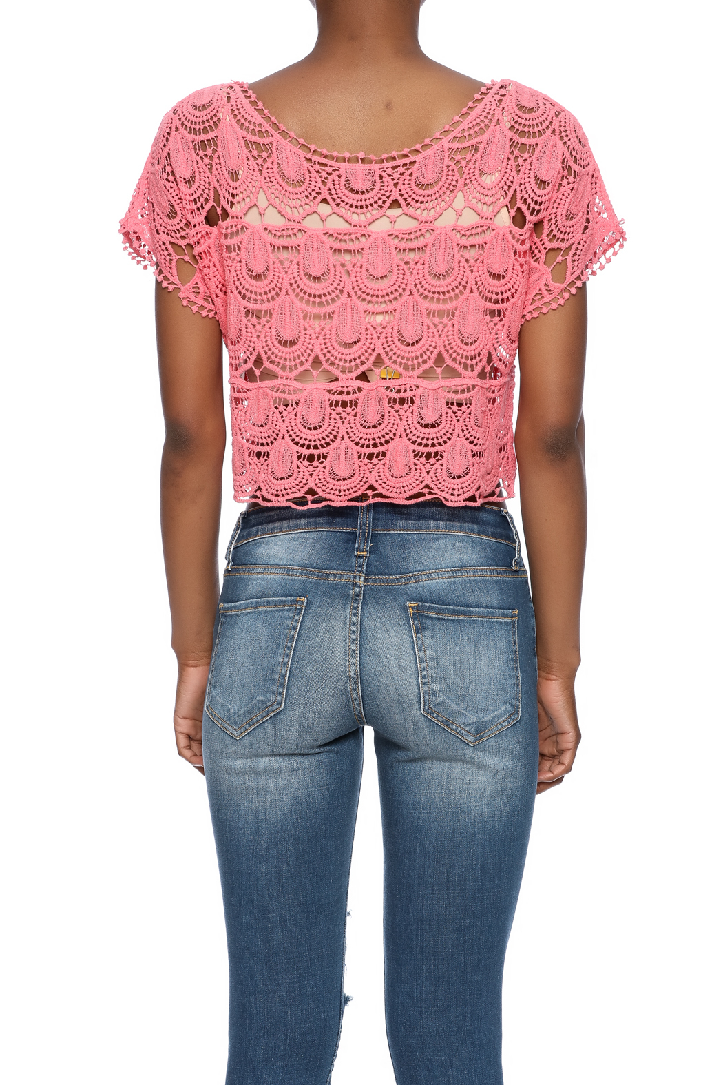 C Mode Coral Crocheted Crop Top - Back Cropped Image