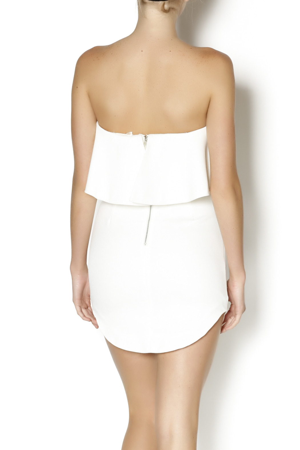 luxxel Tiered White Dress - Back Cropped Image
